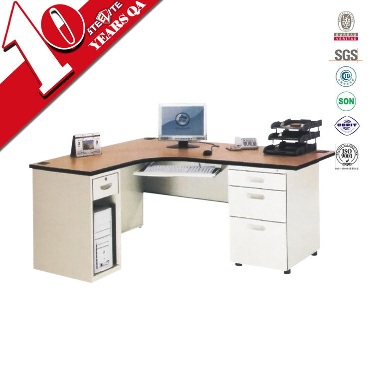 L Shaped Expandable Computer Desk With Mobile 3 Drawer