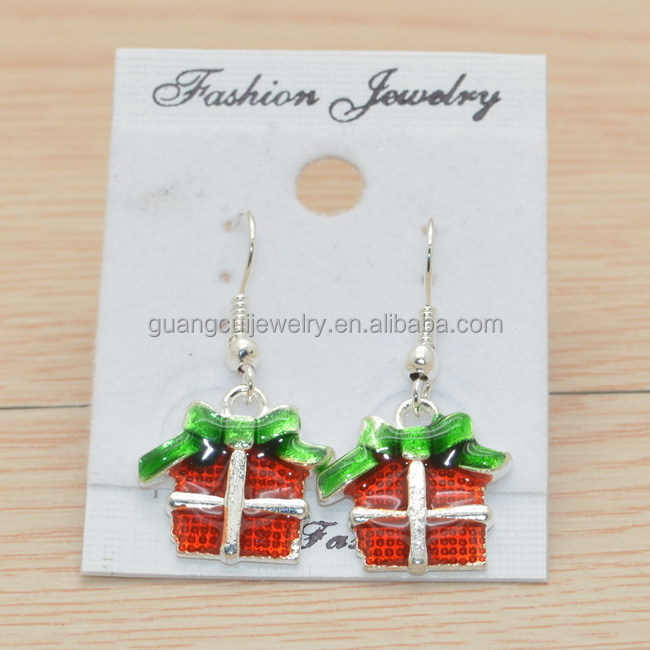 New design Christmas xmas gifts box alloy hook earring