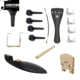 Violin Accessories Set 15PCS,Violin Chin Rest+Chin Rest Screws+Fine tuning+Bridge+Pegs+Tailpiece+Endpins+Tail Tassel+Sound-post