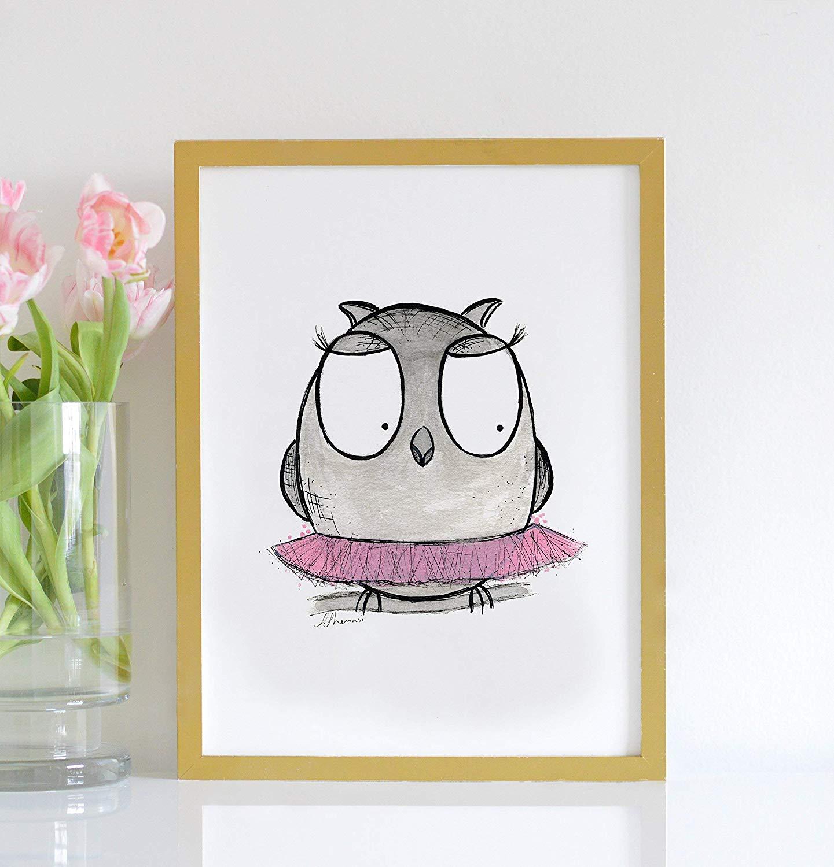 2e98c48d5 Get Quotations · Nursery Woodland Animal Owl Wall Art for Girls Nursery,  Children's Wall Art Tutu Print,