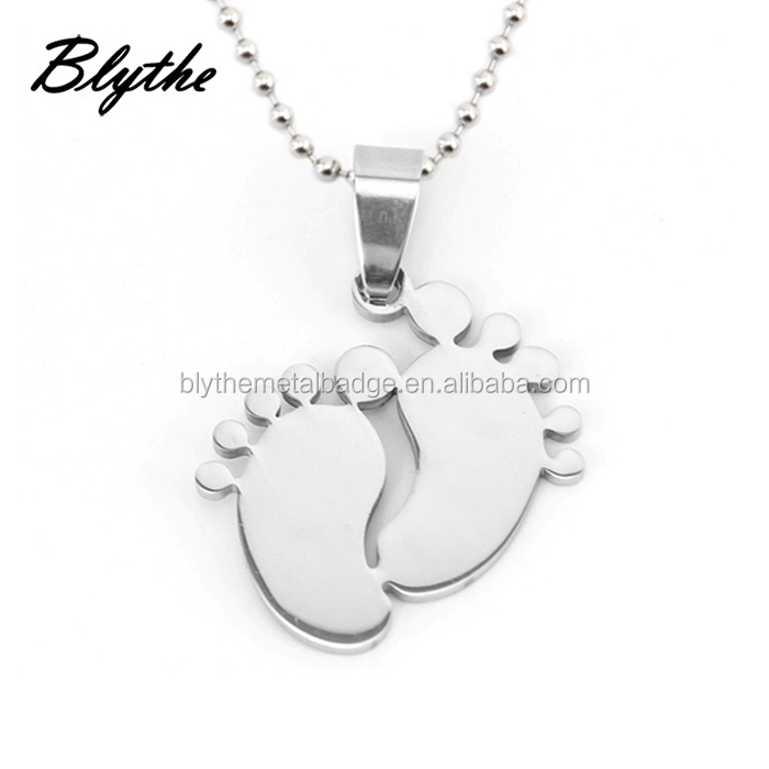 Stainless steel baby foot necklaces&pendants blank dog tags