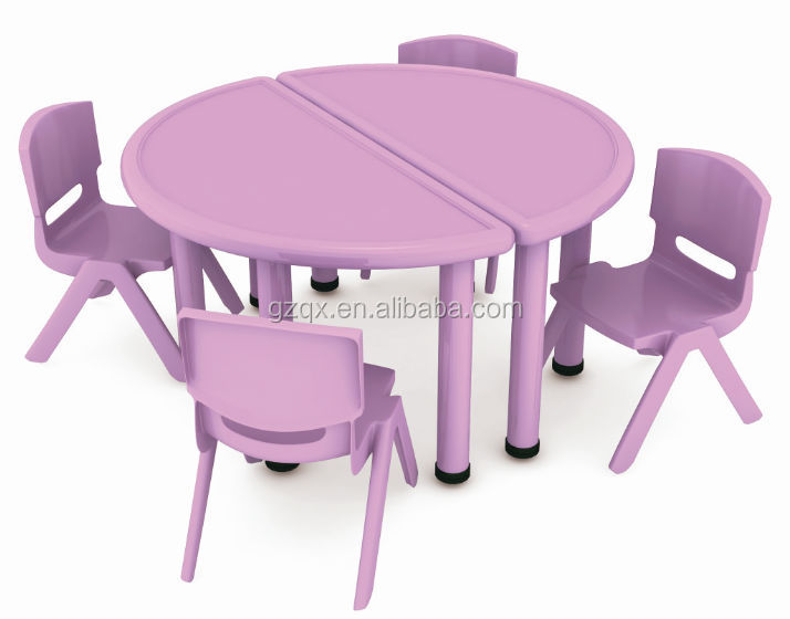 Purple Semicircle Kids Study Table Design / Kids Plastic Table And Chairs /  School Plastic Table