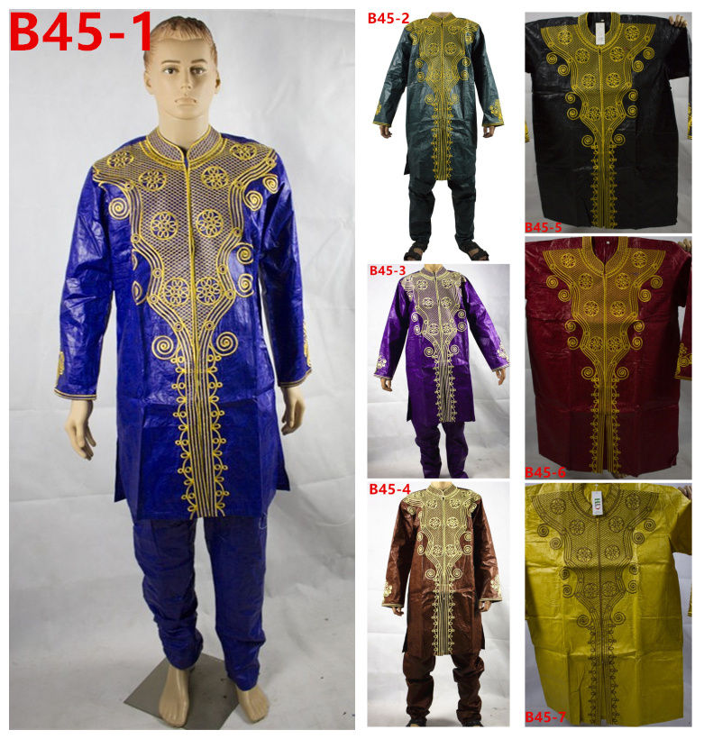 Fashion Design African bazin suit for men ,long sleeve embroidery african top for men