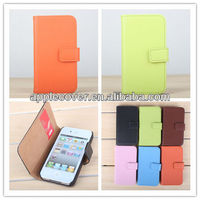 candy color book pu leather case for iphone4/4S buckle and card slot