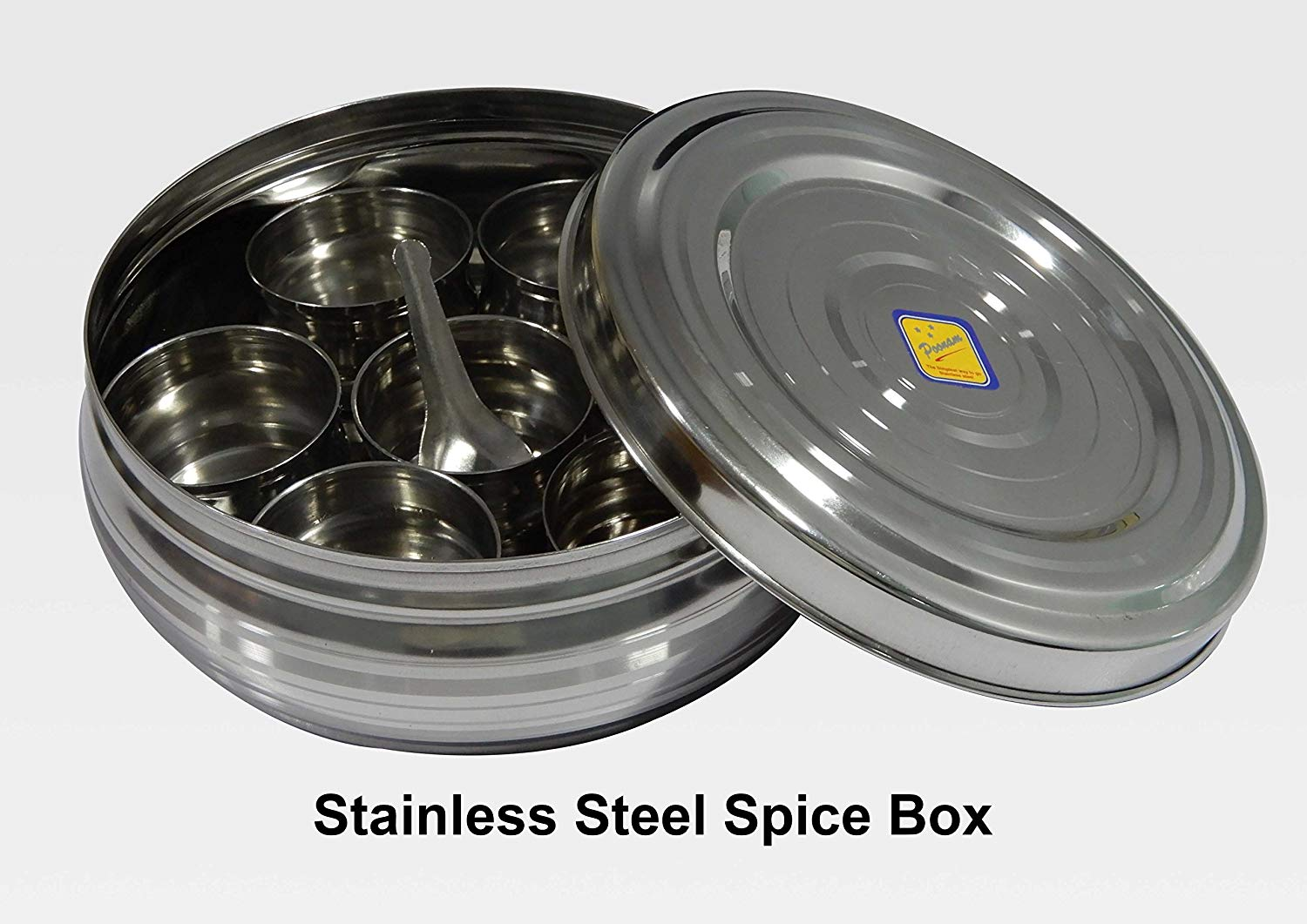 Stainless Steel Spices Container Box Masala Dabba 7 Compartments Airtight USA