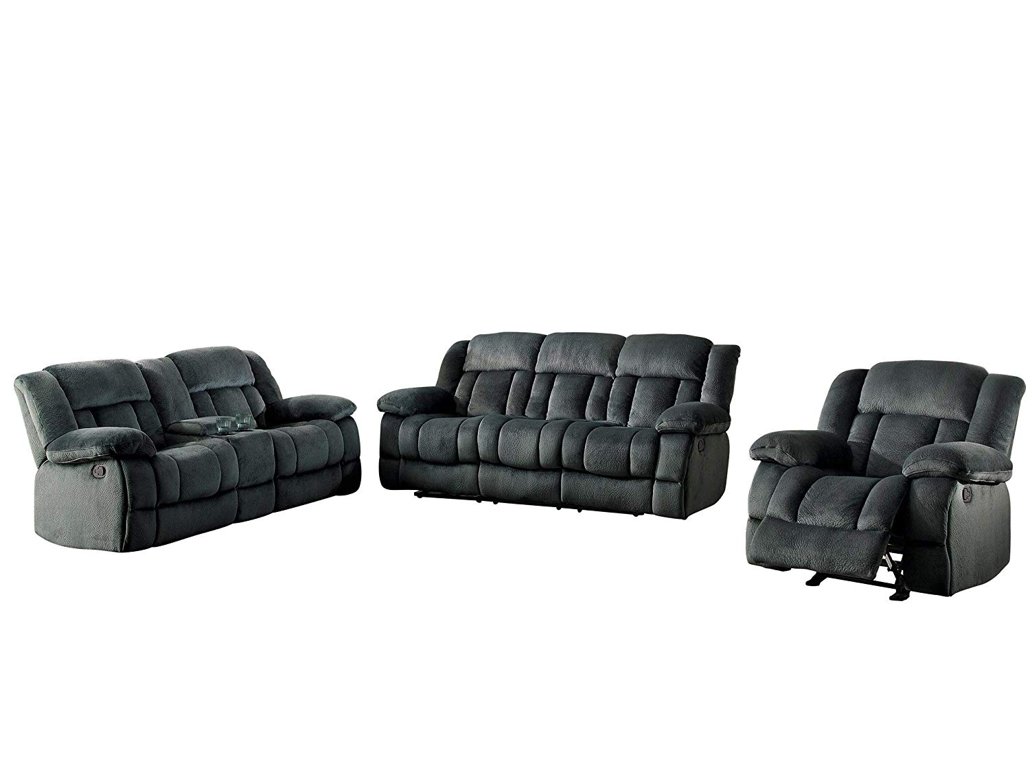 Get Quotations Latona 3pc Double Reclining Sofa Center Console Love Seat Glider Chair In Charcoal Microfiber