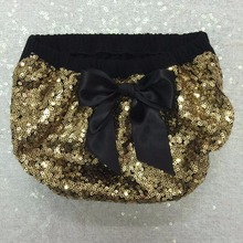 Summer Kids Sequin Bloomer With Pom Pom Baby Diaper Cover Bloomers Toddlers Sequin Diaper Cover