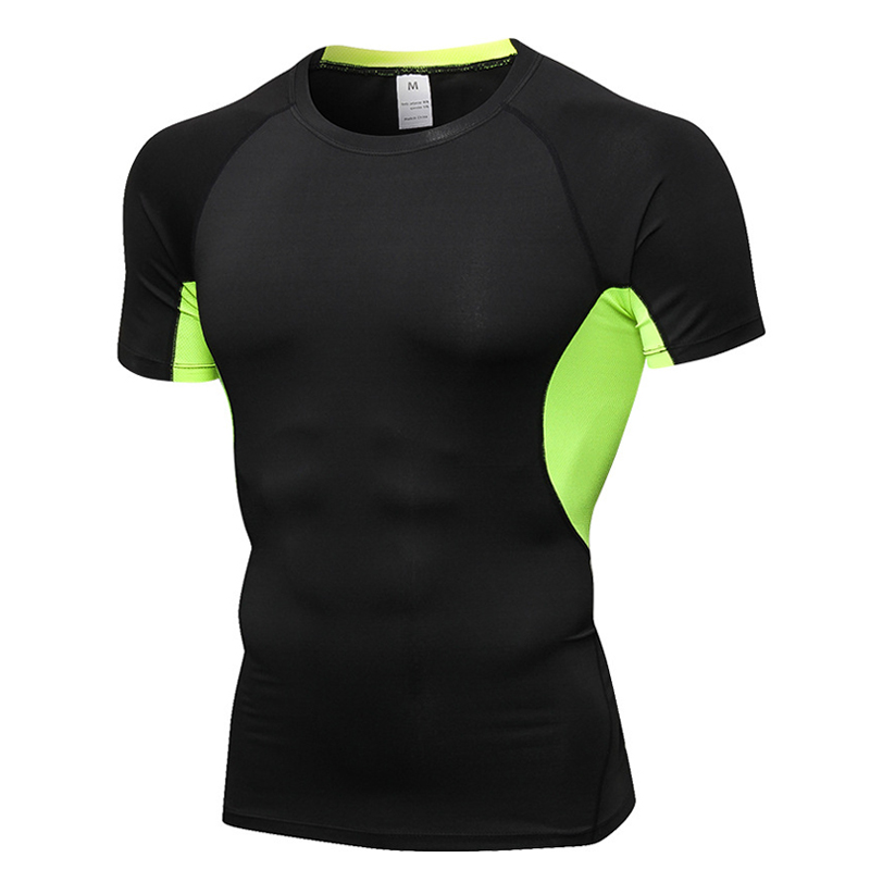 Mannen Activewear Vochtafvoerende Compressie Tights Baselayer Korte Mouw Droge Fit T-shirt