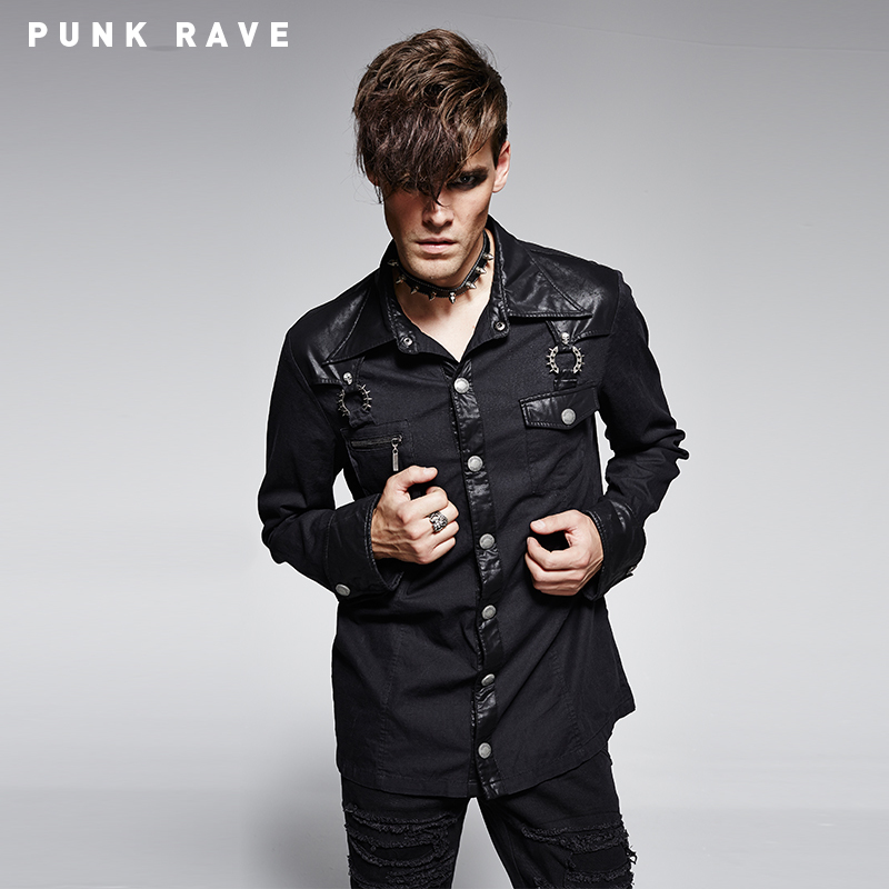 Y-753 PUNK RAVE Germany Soldierly Stand-up Collar Shirt With Delicate Loops
