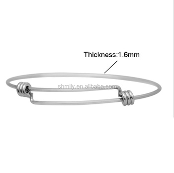 Wholesale 60mm 65mm 1.6mm Thick High Quality Stainless Steel Plain Expandable Wire Adjustable Bangle Women DIY Jewelry SCB-A002