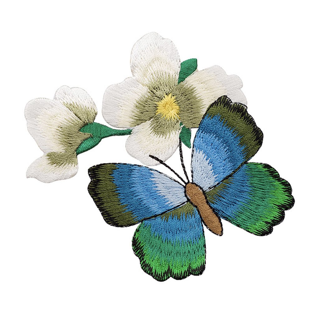 XUNHUI Butterfly and White Flower Patches Embroidered for Clothing Iron Applique Clothes Stickers Badge DIY 1 Piece