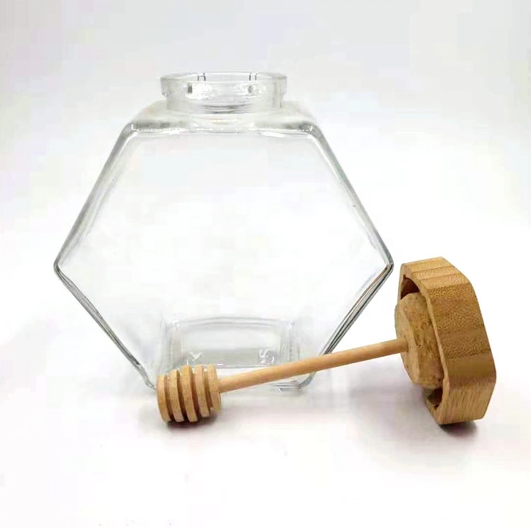 Customized 220ml 380ml Hexagon glass honey jar food grade glass storage jar with wooden lid and wooden dipper