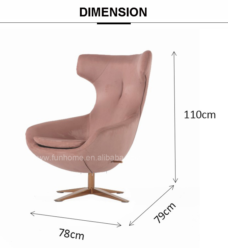 New arrival style copper chair single sofa chair with stainless steel leg chair