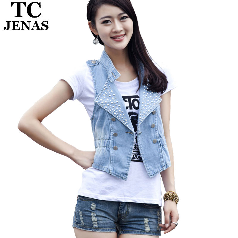 TC New 2015 Plus Size Woman Blue Black Botton Rivet Elastic Waisted Casual Summer Denim Jeans Vest colete feminino