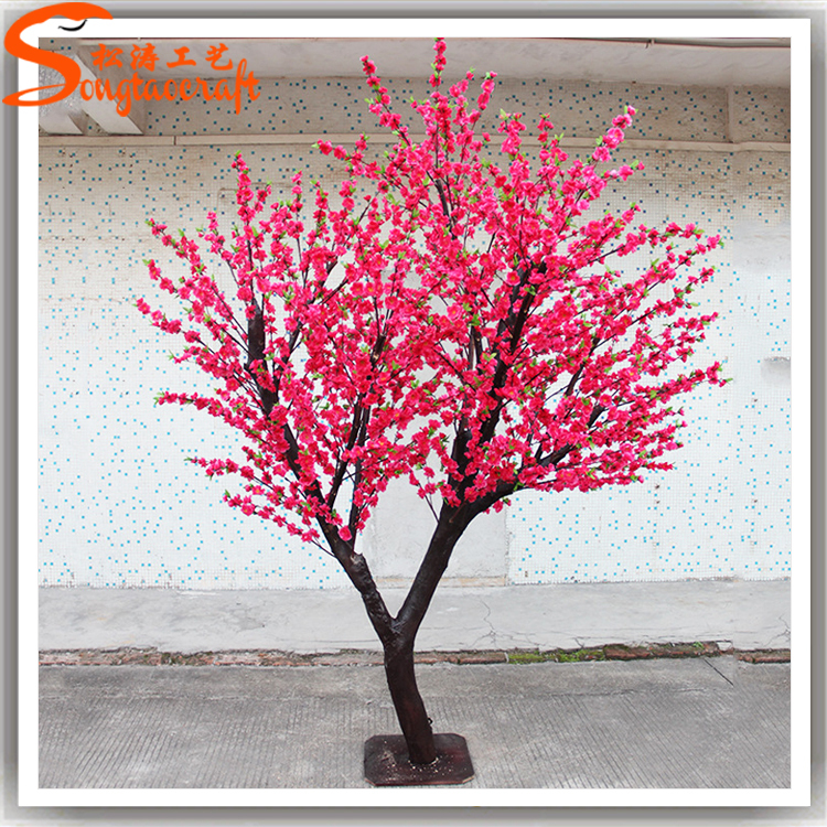 Chinese Factory Artificial Plastic Cherry Blossom Tree Indoor Peach Pink Flower Trees And Branches Whole Wedding