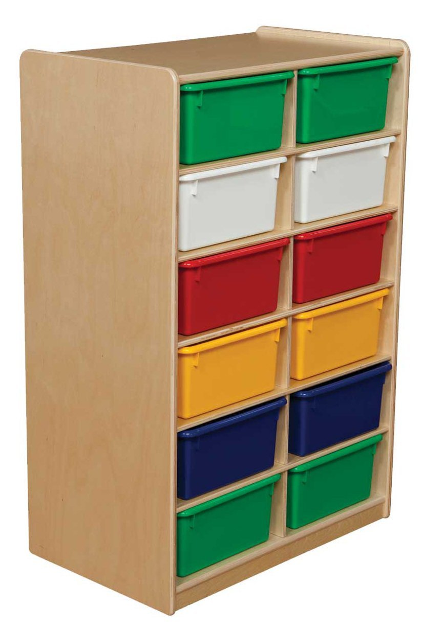 """Wood Designs WD18263 (12) 5"""" Letter Tray Storage Unit with Assorted-Color Trays, 36 x 24 x 15"""" (H x W x D)"""