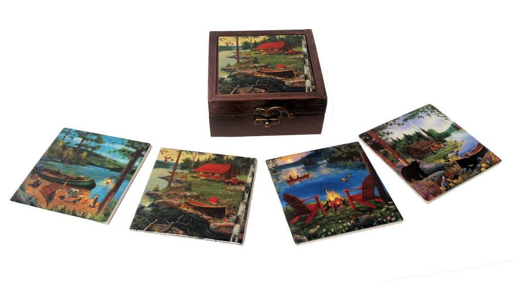 Cabin Decor Coasters Set of 4 Coasters with Cabin Scenes and Wooden Storage Box