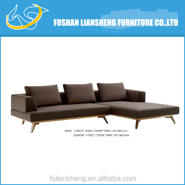 high density form brown fabric sofa with solid wood legs
