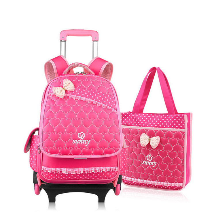 e3965befe7a Get Quotations · DHL Free Shipping Children Schoolbag sets( 6 Wheels Cute  Beautiful Princess Removable Trolley Backpack bag