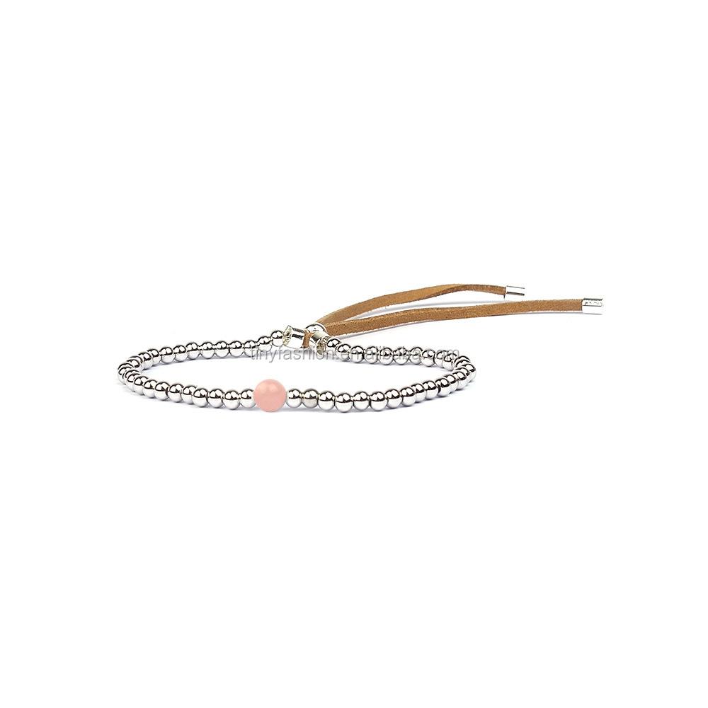 e2bc33e5c58a 3um plateado Tiny granos de cobre Faux Suede cuarzo rosa natural pulsera  delicada joyería