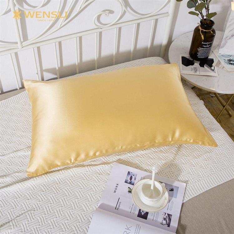 Wholesale Custom Yellow Queen Size Zipper Silk Pillow