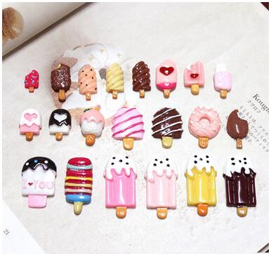 0779 DIY decoration hair snap clip cellphone nail beauty ornament lovely ice cream resin cabochons beads