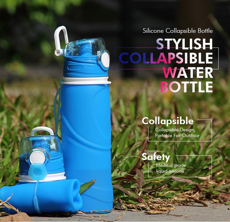 Гибкая многоразовая частная этикетка разборная Спортивная силиконовая складная бутылка для воды