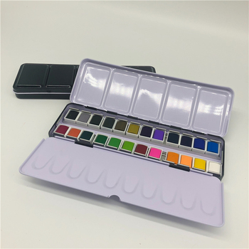 Factory Wholesale 12 Colors Chinese Winsor Metal Newton Watercolor Palette Paints
