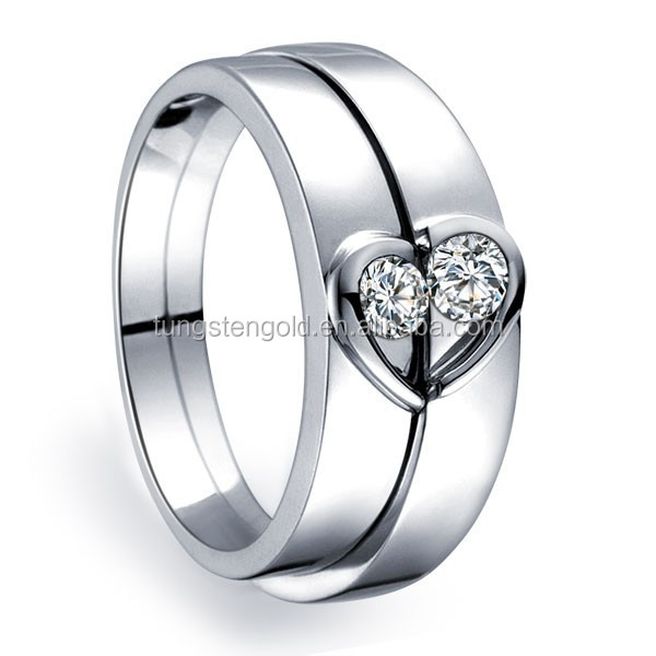 Unique Heart Shape Couples Matching Wedding Band Rings on Silver