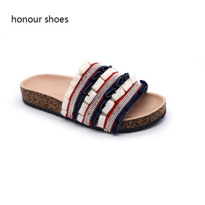 Rhinestone lady shoes 2018 Leather cork sole flat sandals women shoes