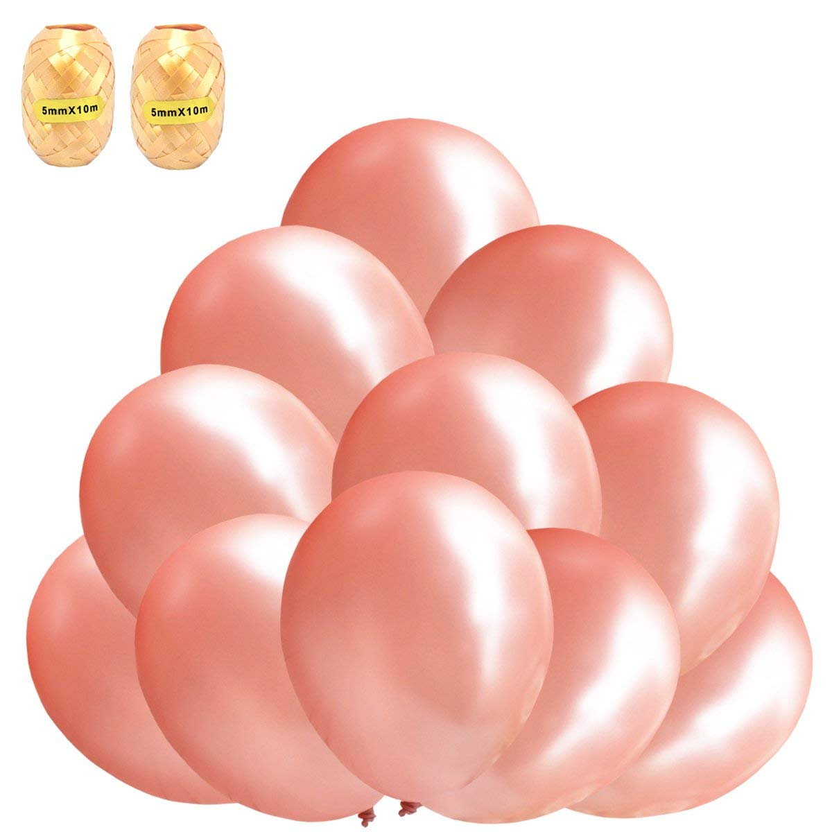 Fayoo Real Rose Gold Party Balloons 12 inch 40 Pcs Elegant Latex Party Balloons for Weddings, Party Decorations, Birthdays, Bridal Shower, Valentine's Day, Graduation (40pcs+2)