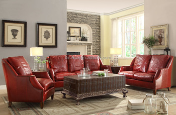 Bisini Luxury American Style Geunine Red Leather Sofa Set With Crocodile Leather  Coffee Table