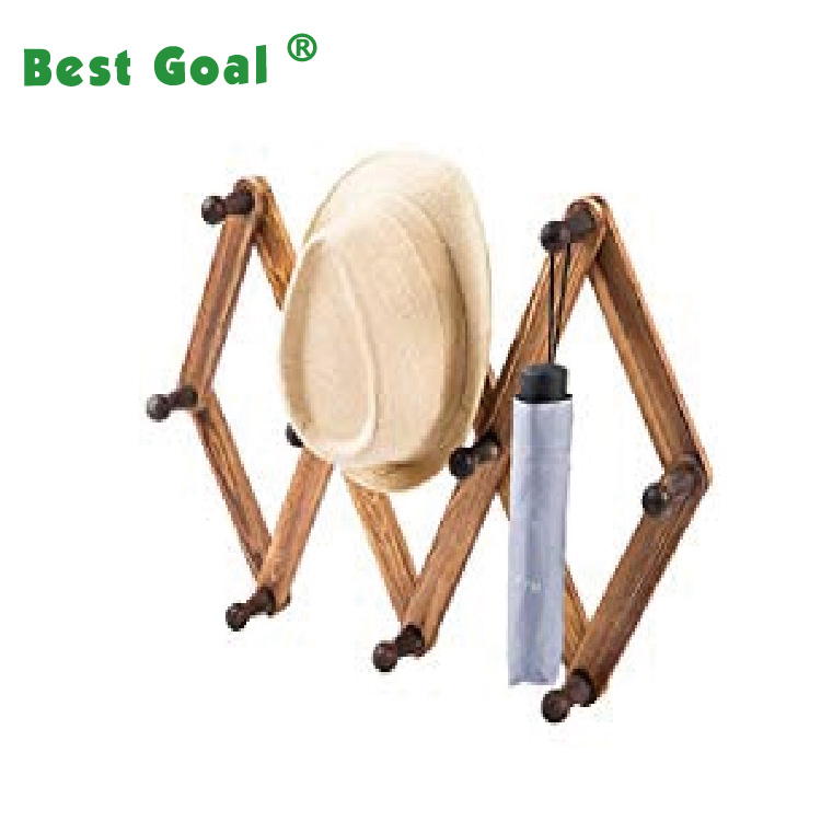 Wood Expandable wall mounted clothes/Hat/Umbrella hanger rack with pegs