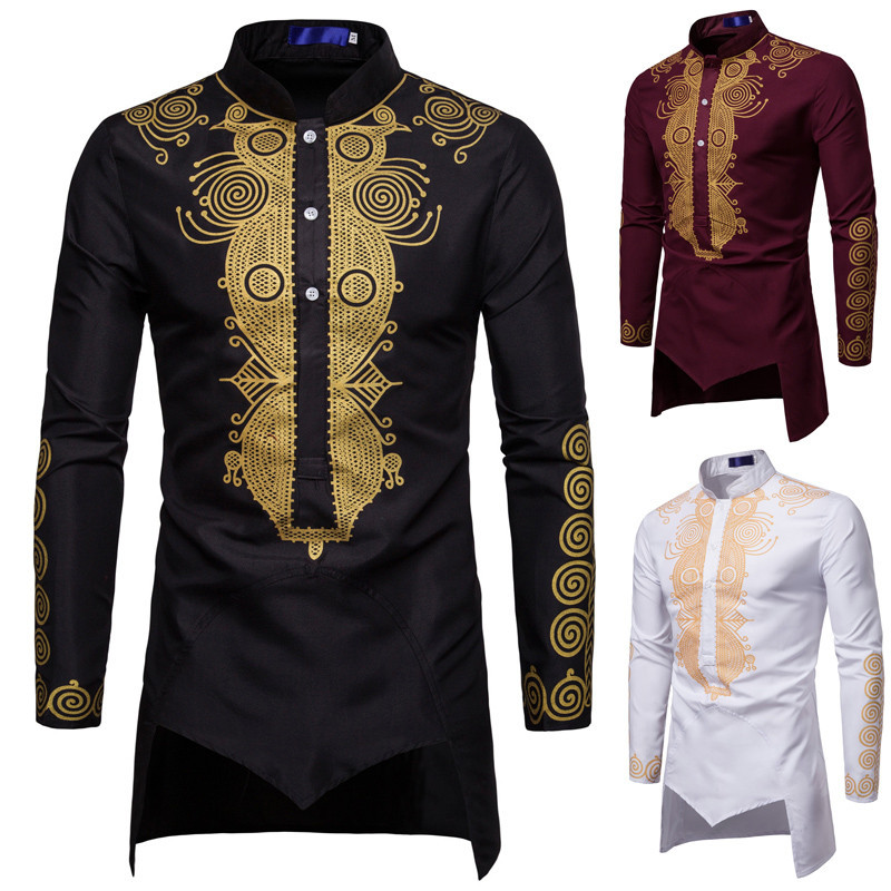 Fashion Male Shirt Unique Design FLOWER Print Shirt Men Luxury Baroque Royal Fancy Man LONG Shirts