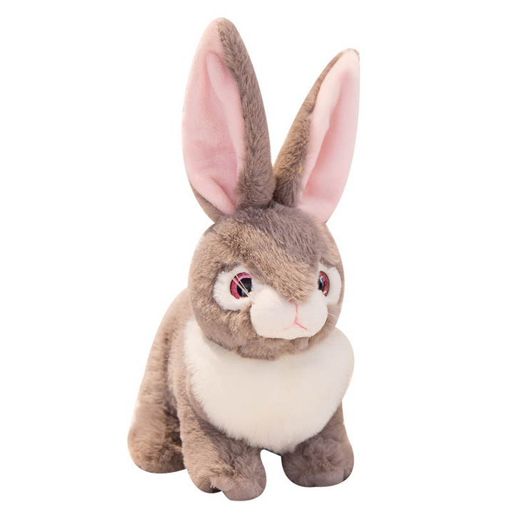 Bestdan White Gray Bright Eye Plush <strong>Rabbit</strong> Bunny Toy Kids Girl Animal Doll Toy Sitting Cuddly Stuffed <strong>Rabbit</strong> Wholesale