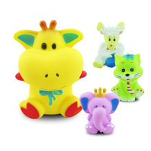 cheap lovely water spray rubber animal 6packs bath toy for baby shower gift