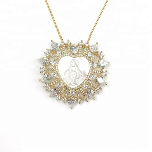 Religion Jewelry shell cubic zirconia stone High Polated Gold Plated guadalupe Virgin Mary Diamond Necklace