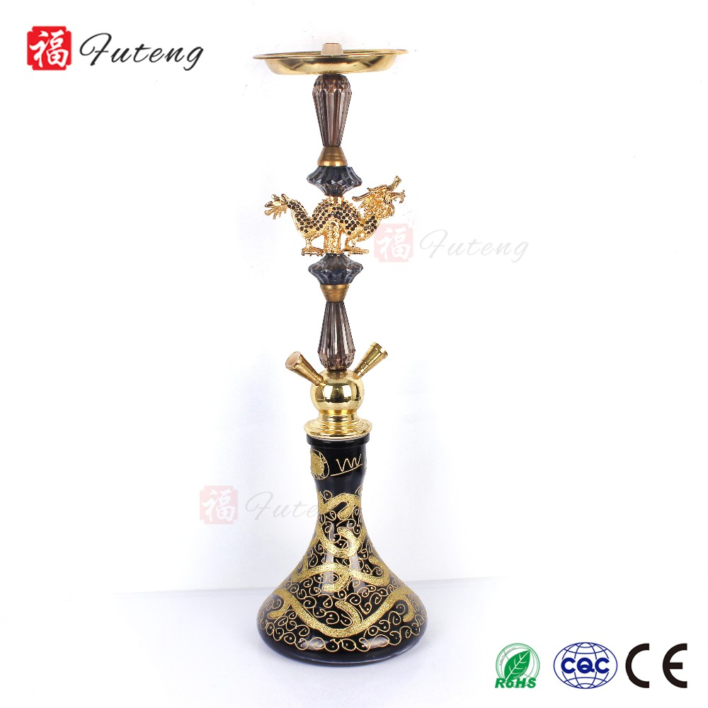 Futeng Cheap Shisha Large Size Custom Colored Smoke Hookah Shisha Wholesale China Hookah Two Hoses
