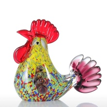 De color esmalte Gallo figura para la decoración de la casa