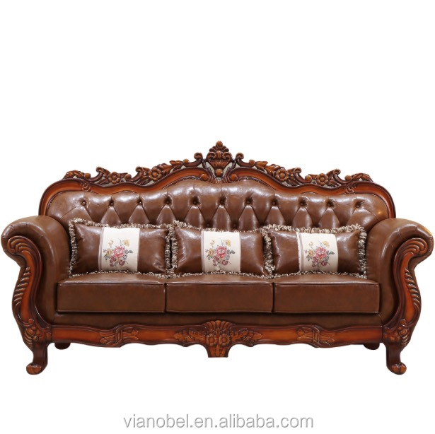 Classic Design Italian Leather Sofa & Loveseat Luxury Living Room Set w/ Wood Accents