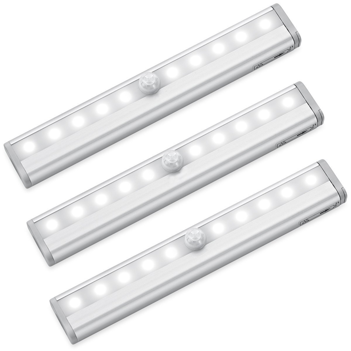 Motion Sensor Closet Lights RUOYIER Portable Wireless 10-LED Stick-on anywhere Cabinet motion sensing light with Magnetic Strip for Wardrobe Stairs Step Night Light Bar(Battery Operated 3-pack)
