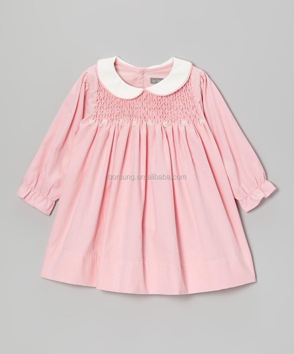 Baby Pink Silk Cotton Peter Pan Neck Long Sleeve Appliqued Toddler