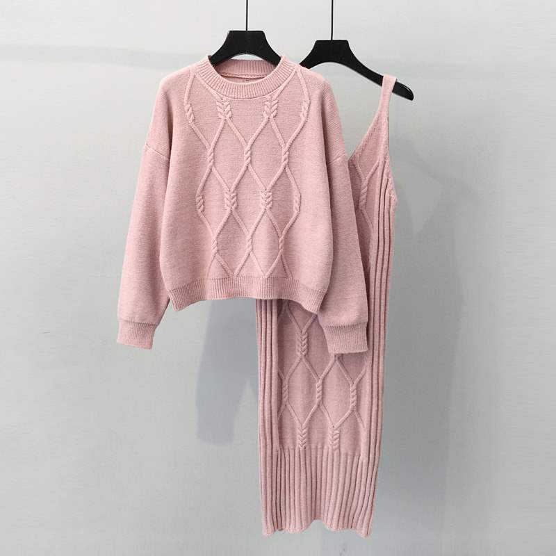 New arrival western style crew neck cable knitted pullover and vest long dress twin set