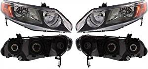 Discount Starter and Alternator HO2503125 HO2502125 Honda Civic Replacement Headlight Pair Plastic Lens Without Bulbs