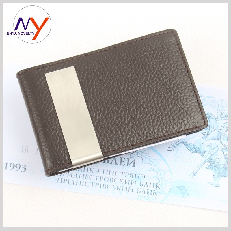 New Arrival Men Slim Money Clip Brown Genuine Leather Billfold Stainless Steel Money Clips Luxury Fashion Men Wallets H039a