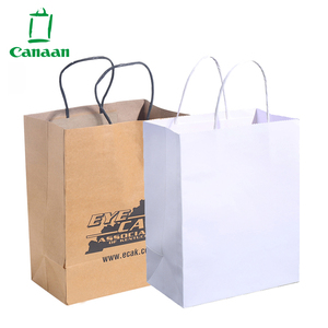 OEM Custom Luxury Gift Craft Shopping White Brown Kraft Paper Bag with Handle
