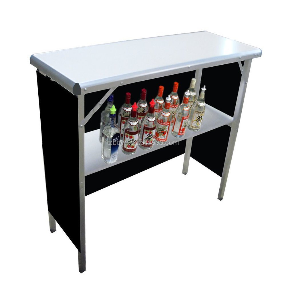 Captivating Portable High Top Party Bar Table, Includes 3 Front Skirts And Carrying Case