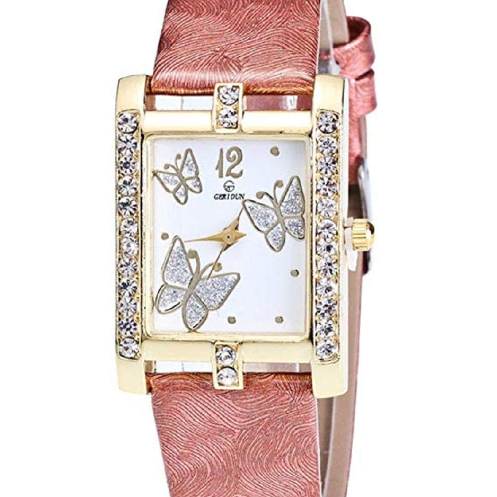 Butterfly Watches for Women, Windoson Crystal Analog Lady Watches Female Watches Wrist Watches for Women Rectangle Leather Watch (Coffee)