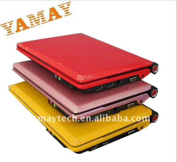 Mini 10 Inch Intel Atom N270 1.6GHZ CPU with WIFI and white,black,red,pink and yellow color Notebook/netbook/laptop