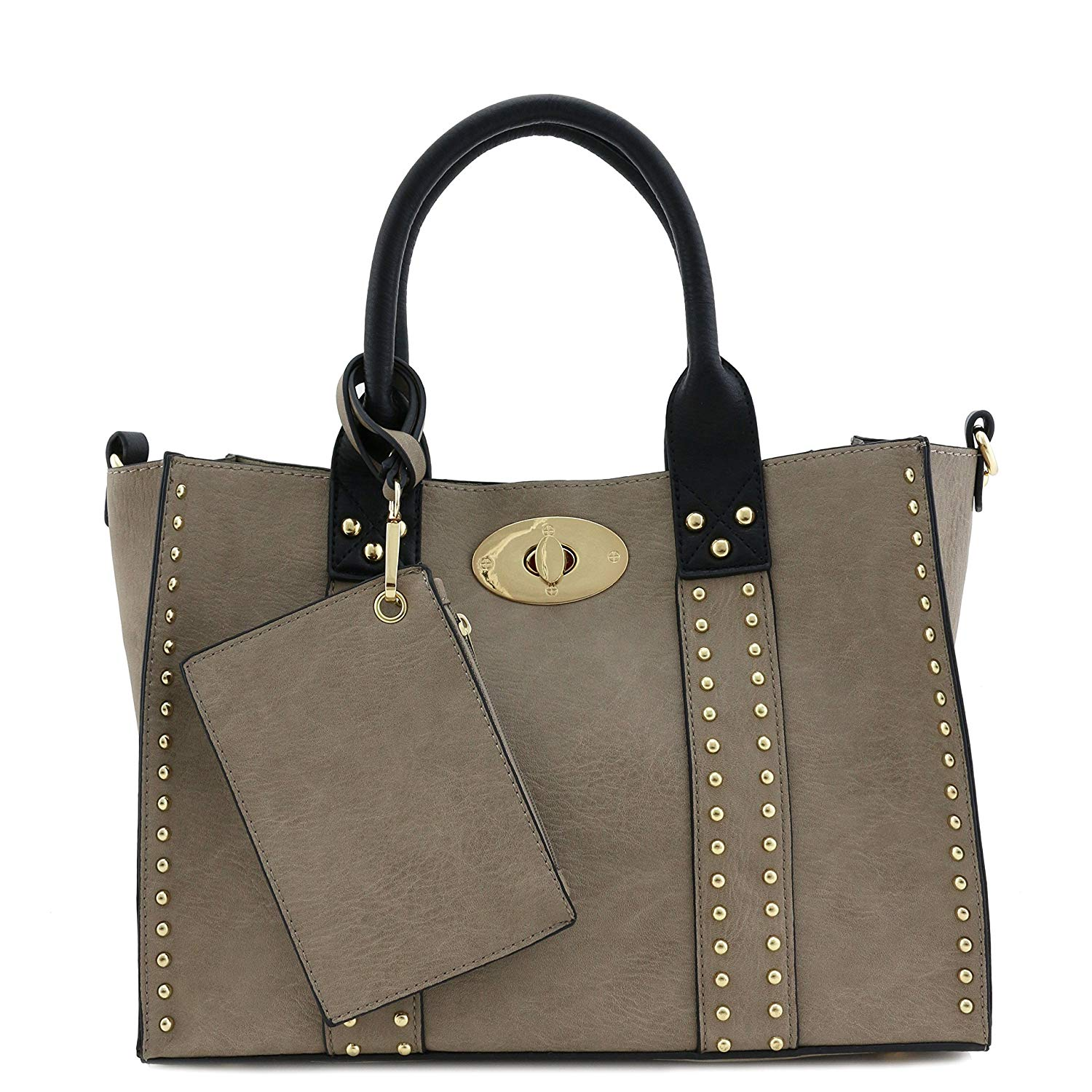 41364c400f Get Quotations · 3pc Set Studded Turn Lock Tote Bag with Crossbody